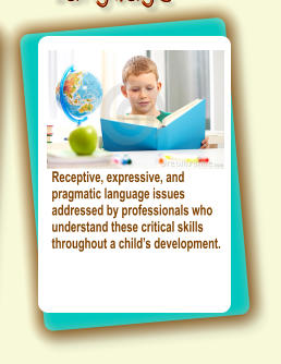 Services for children with speech articulation challenges, oral motor issues or delayed speech.  More.... Receptive, expressive, and pragmatic language issues  addressed by professionals who understand these critical skills throughout a child's development.
